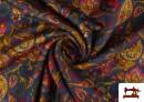 Venta online de Tela de Punto Interlock Estampado Cachemir Floral color Azul
