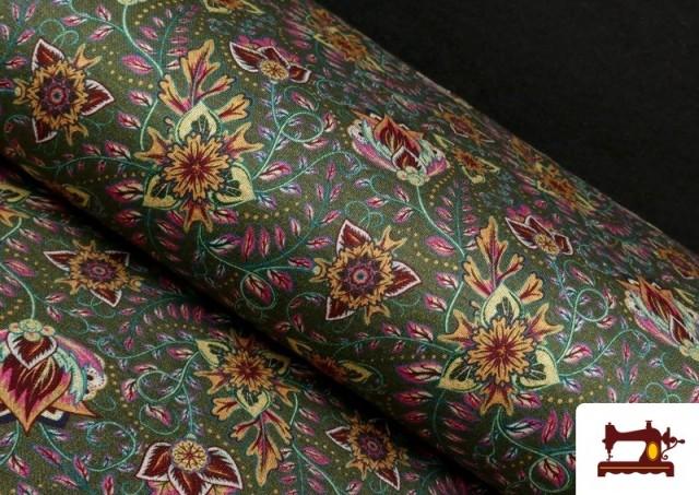 Tela de Punto Interlock Estampado Cachemir Floral color Verde