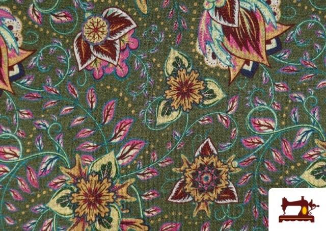 Comprar Tela de Punto Interlock Estampado Cachemir Floral color Verde