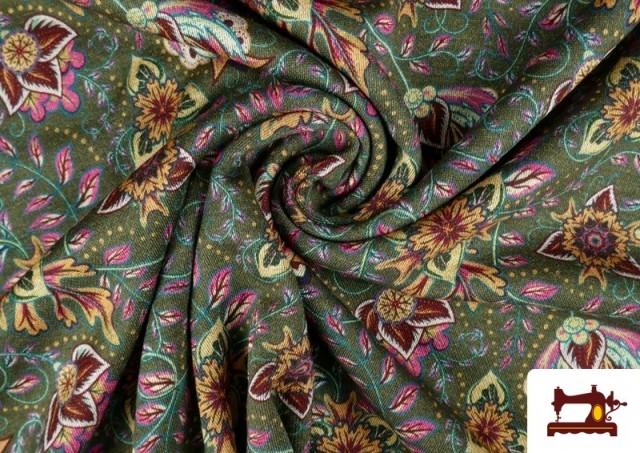 Venta de Tela de Punto Interlock Estampado Cachemir Floral color Verde