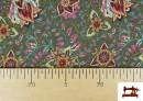 Comprar online Tela de Punto Interlock Estampado Cachemir Floral color Verde
