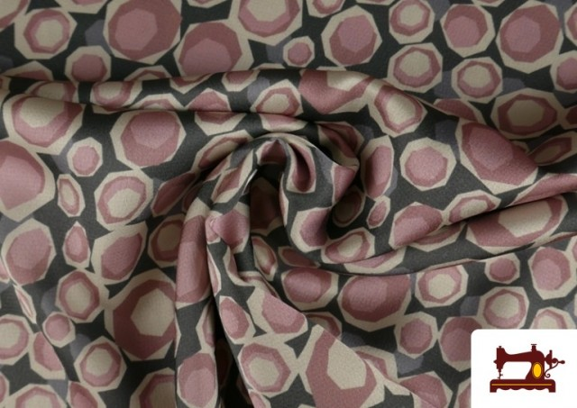 Venta de Tela de Creppe Satén Geometrico de Colores color Rosa pálido