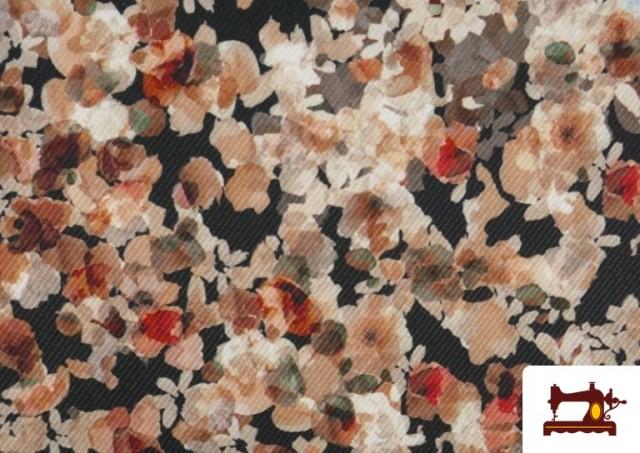 Venta de Tela de Sarga Crespón Flores de Jardín
