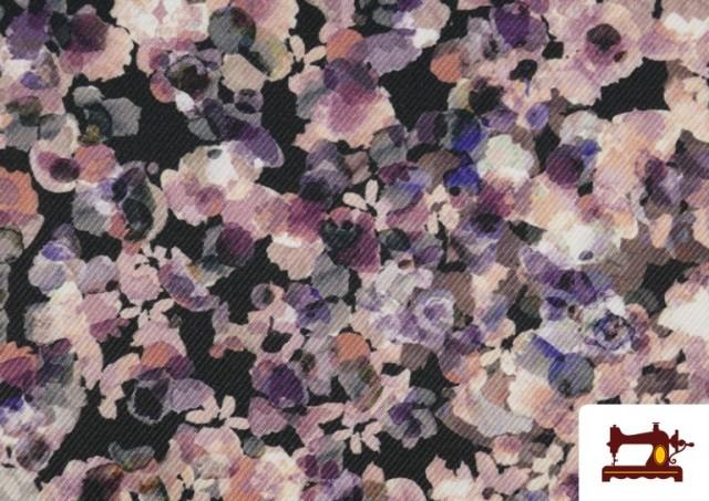 Tela de Sarga Crespón Flores de Jardín