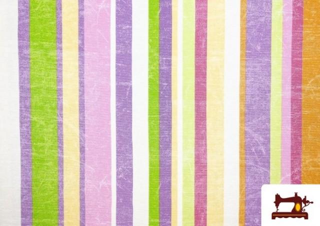 Comprar Telas de Rayas Anchas para Decoración Multicolor color Malva