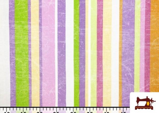 Venta de Telas de Rayas Anchas para Decoración Multicolor color Malva