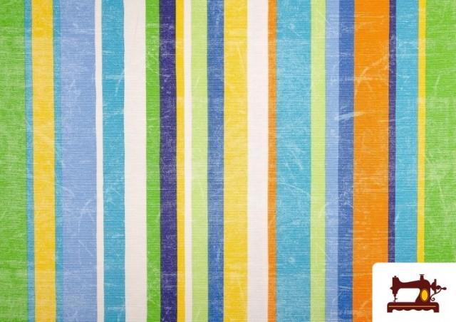 Venta online de Telas de Rayas Anchas para Decoración Multicolor color Azul