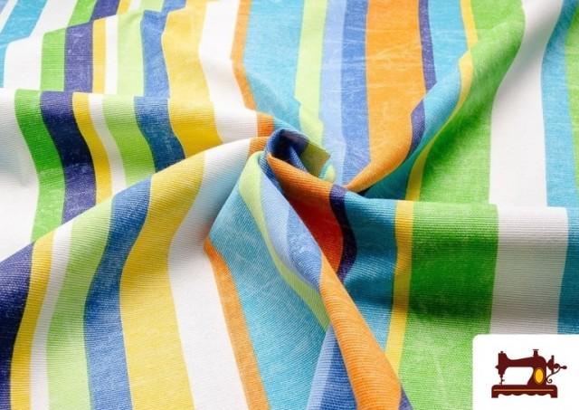 Telas de Rayas Anchas para Decoración Multicolor color Azul