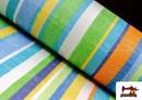 Comprar Telas de Rayas Anchas para Decoración Multicolor color Azul