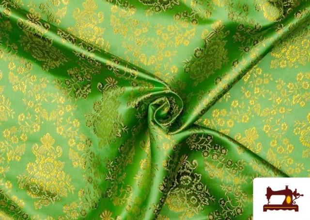Comprar Tela de Jacquard de Flores de Colores Flores Doradas color Verde