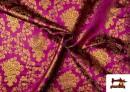 Venta de Tela de Jacquard de Flores de Colores Flores Doradas color Fucsia