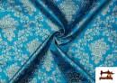 Comprar online Tela de Jacquard de Flores de Colores Flores Doradas color Azul turquesa