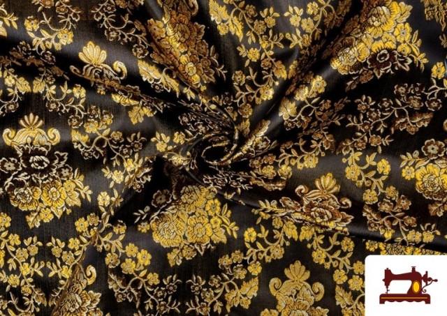 Venta online de Tela de Jacquard de Flores de Colores Flores Doradas color Negro