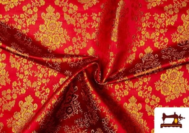 Tela de Jacquard de Flores de Colores Flores Doradas color Rojo
