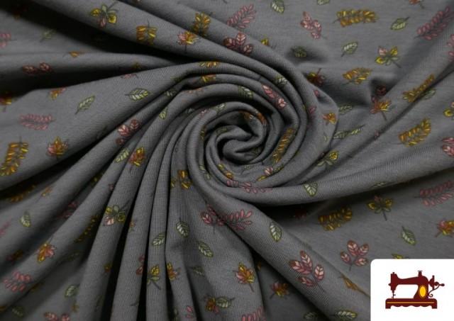 Venta de Punto Camiseta de Algodón Hojas de diferentes Estaciones color Gris