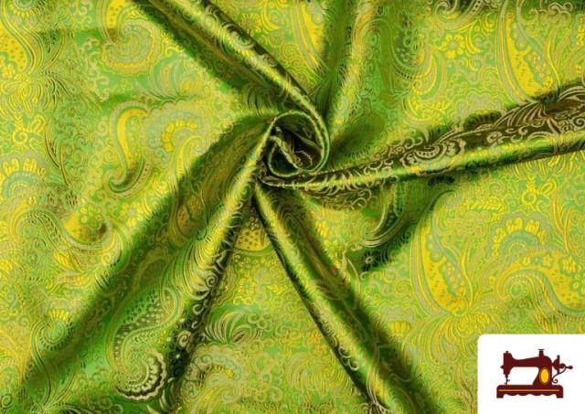 Tela Jacquard de Seda de Colores con Cachemir Dorado color Verde