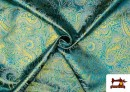 Comprar Tela Jacquard de Seda de Colores con Cachemir Dorado color Azul turquesa