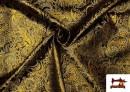 Venta de Tela Jacquard de Seda de Colores con Cachemir Dorado color Negro