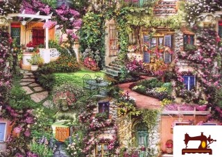 Comprar tela estampada con motivos de un  jardin