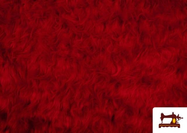 Venta online de Tela de Pelo Largo de Colores color Rojo