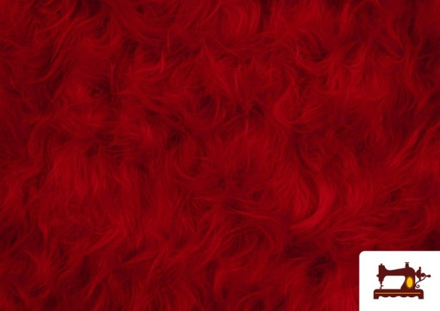 Tela de Pelo Largo de Colores color Rojo