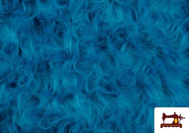Venta online de Tela de Pelo Largo de Colores color Azul turquesa