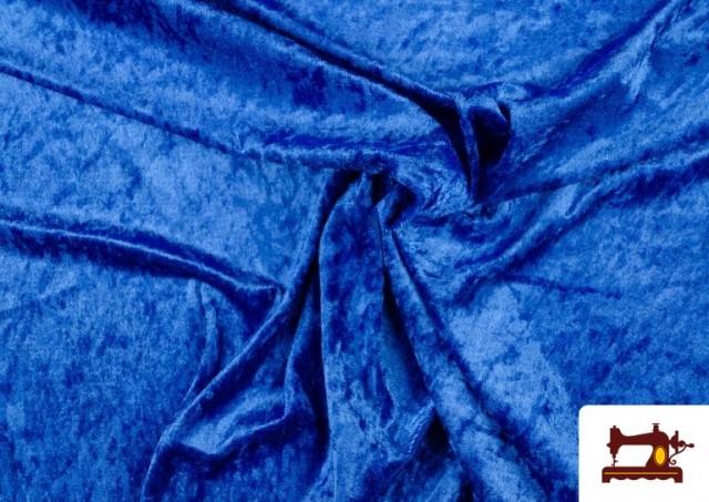 Tela de Terciopelo Económico Martele color Azulón