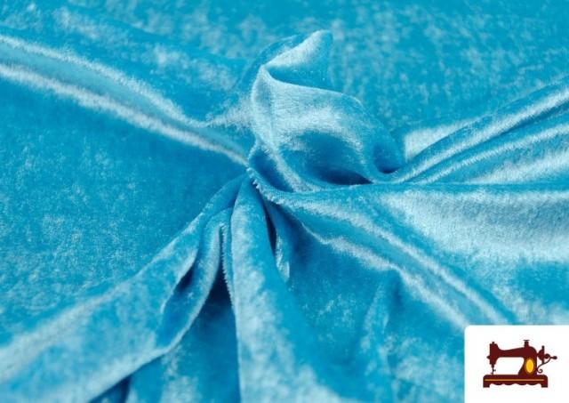 Tela de Terciopelo Económico Martele color Azul