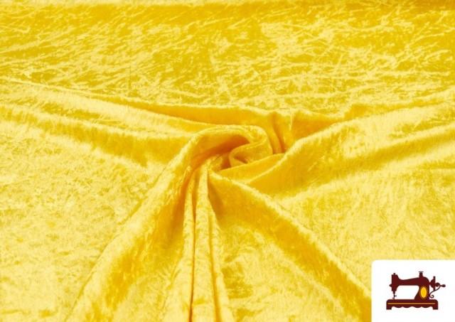 Venta online de Tela de Terciopelo Económico Martele color Amarillo