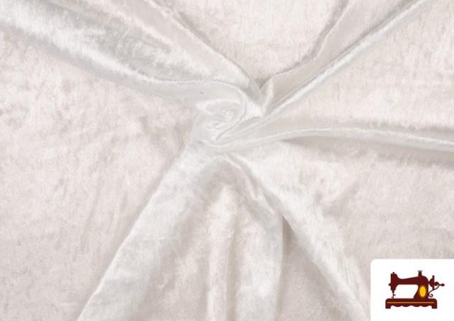 Venta de Tela de Terciopelo Económico Martele color Blanco