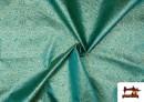 Comprar online Tela de  Jacquard de Seda de Colores con Dibujo Medieval color Azul turquesa