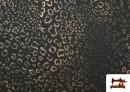 Comprar online Tela de Punto de Roma Estampado Leopardo Brillante color Marrón