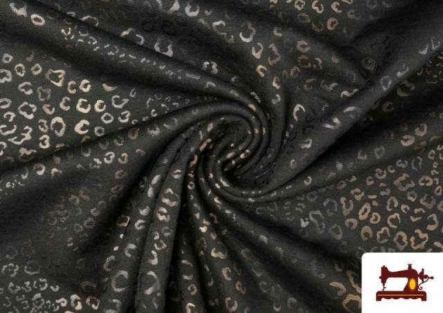 Venta online de Tela de Punto de Roma Estampado Leopardo Brillante color Marrón