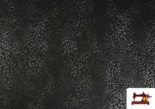 Venta de Tela de Punto de Roma Estampado Leopardo Brillante color Gris claro