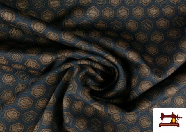 Comprar online Tela de Punto Roma Hexágonos de Colores color Azul Marino