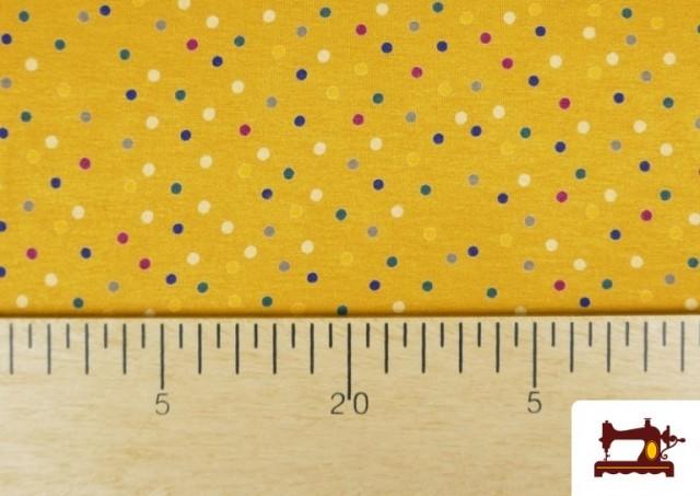 Comprar Punto de Viscosa Estampado Puntos de Colores color Amarillo