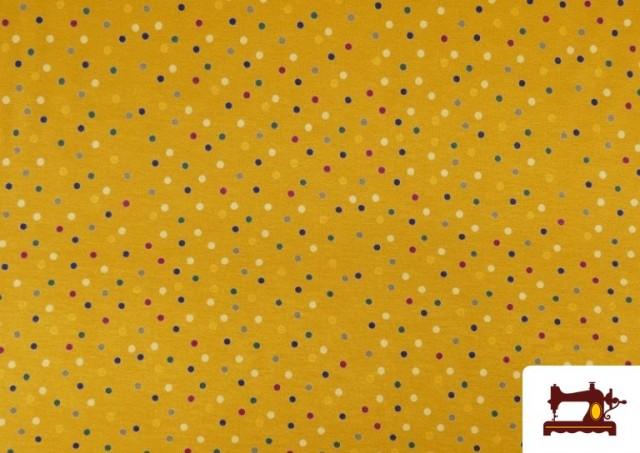 Venta online de Punto de Viscosa Estampado Puntos de Colores color Amarillo