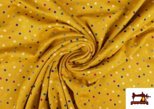 Punto de Viscosa Estampado Puntos de Colores color Amarillo