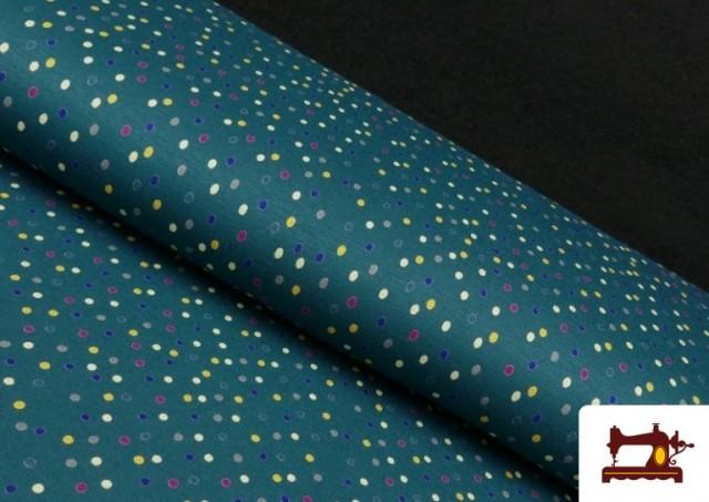 Punto de Viscosa Estampado Puntos de Colores color Verde Petróleo