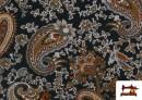 Venta de Punto de Viscosa Estampado Cachemir Grande color Negro