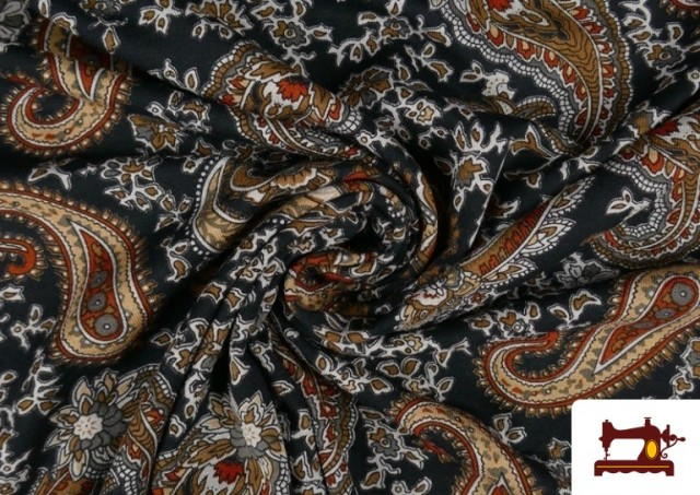 Comprar online Punto de Viscosa Estampado Cachemir Grande color Negro