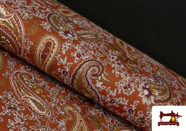 Venta online de Punto de Viscosa Estampado Cachemir Grande color Teja