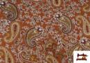 Punto de Viscosa Estampado Cachemir Grande color Teja