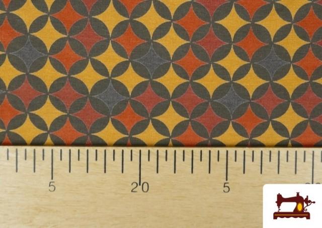 Venta online de Punto de Viscosa Estampado Geométrico Mostaza