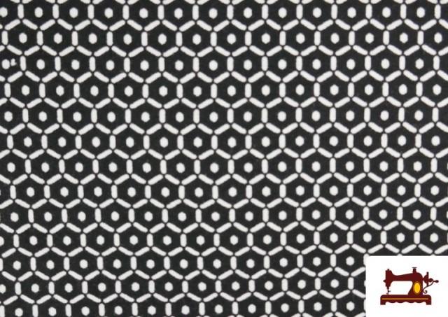 Venta de Punto de Viscosa Estampado Mini Geométrico color Negro