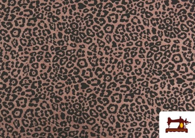 Comprar Tela De Punto Estampado Leopardo Rosa
