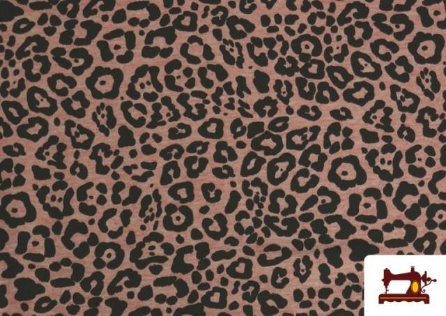 Venta de Tela De Punto Estampado Leopardo Rosa