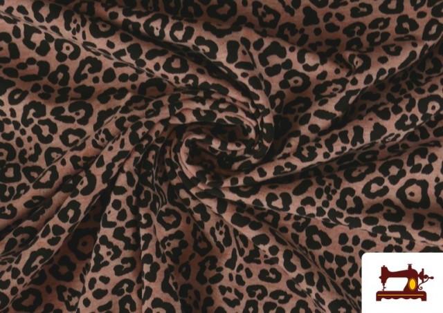 Comprar online Tela De Punto Estampado Leopardo Rosa