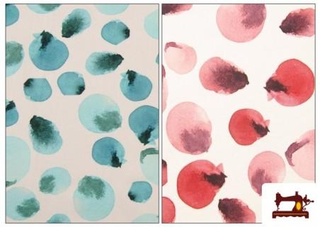 Comprar Tela Estampada de Algodón Símil Lunares de Colores color Rosa matices