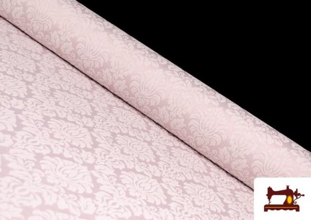 Comprar online Tela de Jacquard Cloqué de Seda Colores Suaves color Rosa pálido